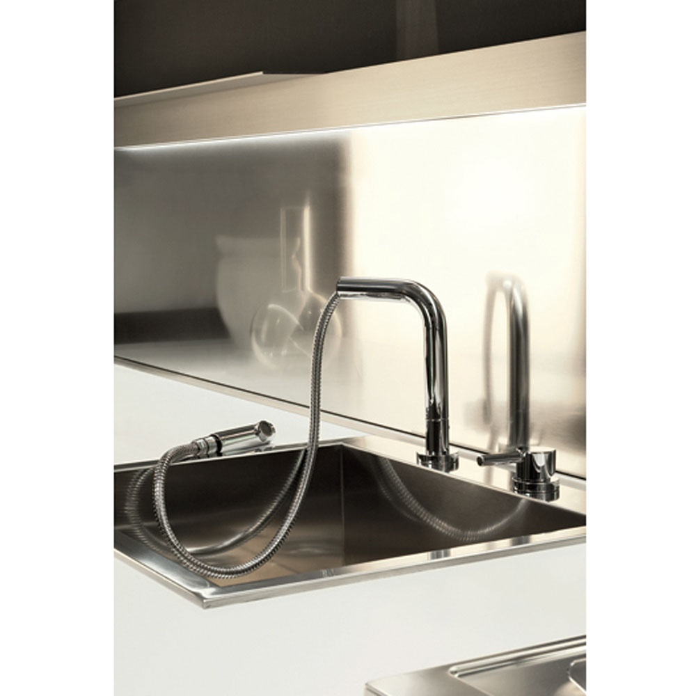 Gessi Logic 2 Hold Mixer With Pull Out Rinse Brushed